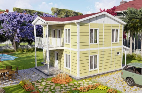 128 m2 Duplex Prefabricated House