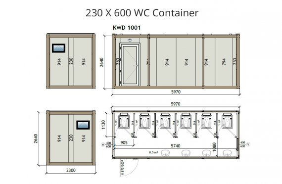 KW6 230X600 Wc Container